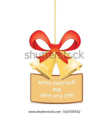 Jingle bells with red bow on white background. Vector illustration - stock vector