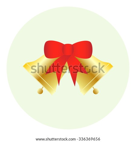 Jingle bells with red bow . Vector illustration - stock vector