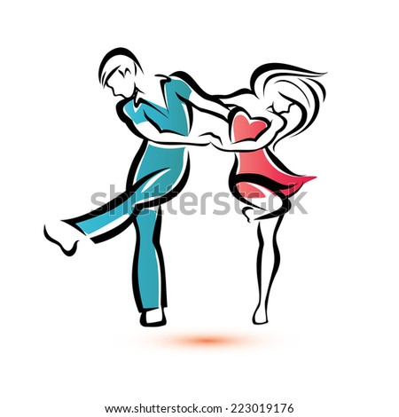 jive dancing couple, outlined vector sketch - stock vector