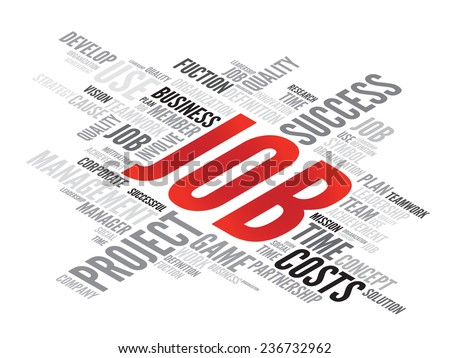JOB business concept in word tag cloud, vector background - stock vector
