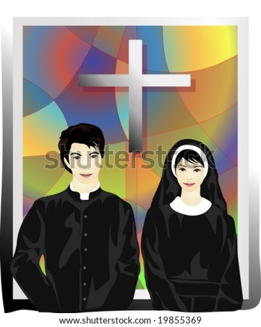 Job Character background with cross in stained glass style - praying beautifully smiling young Asian happy man and lovely woman with crucifix in Catholic church - stock vector