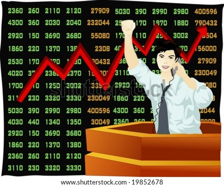 Job Character on black background - successful economic development of smiling young man with telephone in Asian stock exchange