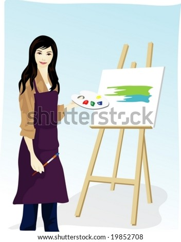 Job Character on blue background - drawing of beautifully smiling young Asian woman with paint brush in workshop - stock vector