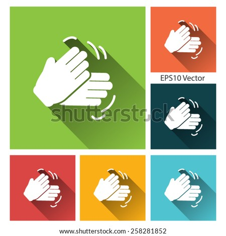Job done hands icon set - Flat style vector icons with long shadow for app and web site. - stock vector