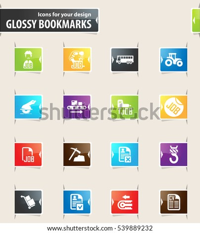 Job icons for your design glossy bookmarks