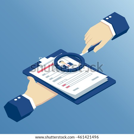 Job interview and recruitment business concept, isometric hands holding resume and magnifying glass, businessman examining cv through a magnifier