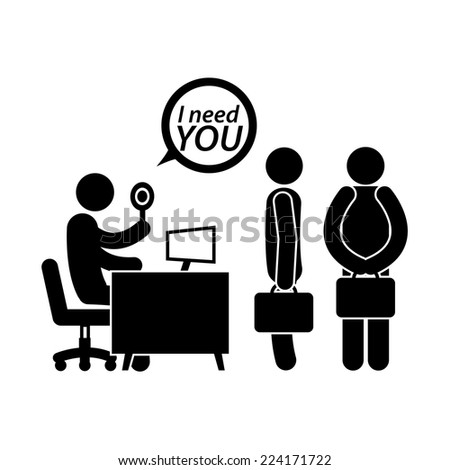Job Interview Figure Pictogram Icon  - stock vector