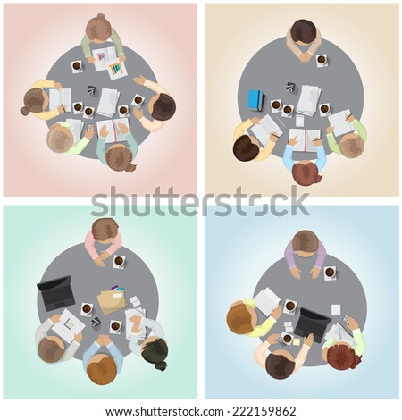 Job Interview, Flat Illustrations, Office Workers, Brainstorming, Development - On Color Background - Vector Illustration, Graphic Design Editable For Your Design - stock vector