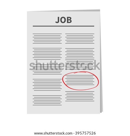 Job Newspaper icon Red pen srible mark Flat design Isolated White background Vector illustration - stock vector