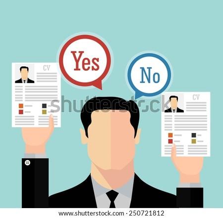 Job recruitment concept with business cv resume - stock vector