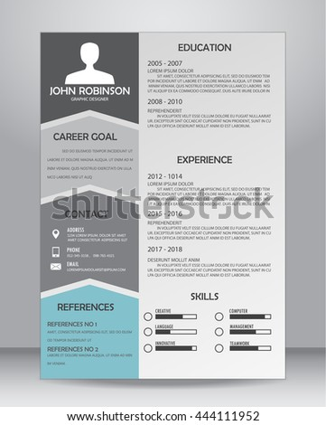 Job Resume Cv Template Layout Template Stock Vector 462476410