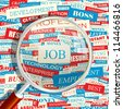 JOB. Seamless backdrop and magnifying glass. - stock photo