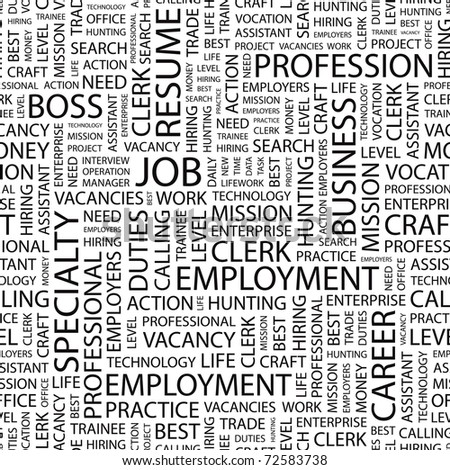 JOB. Seamless vector background. Wordcloud illustration. Illustration with different association terms. - stock vector