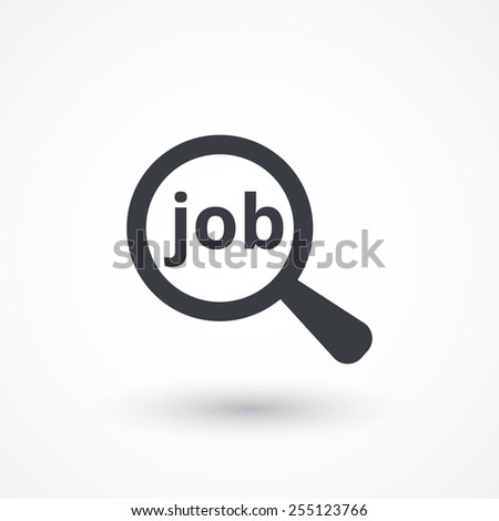 Job search concept icon. Text with magnifying glass. Flat style design icon - stock vector