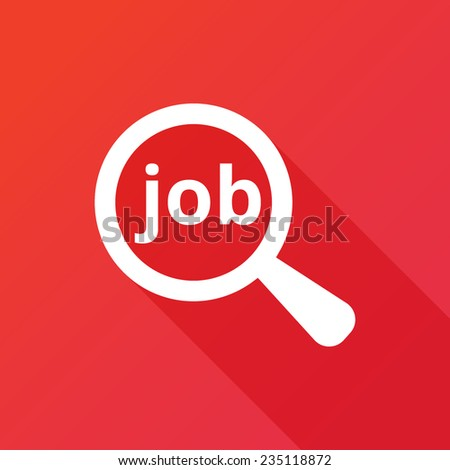 Job search concept icon. Text with magnifying glass. Modern design flat style icon with long shadow effect - stock vector