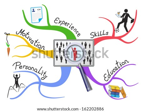 Job searching factors as colorful diagram. Important and required abilities are introduced on the branches - stock vector