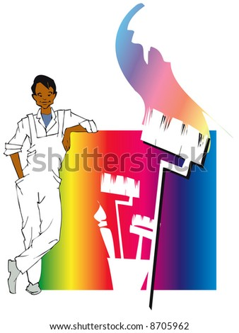 job series - house painting - stock vector