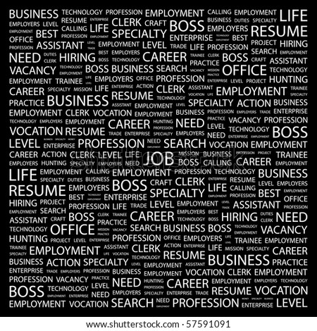 JOB. Word collage on black background. Illustration with different association terms. - stock vector