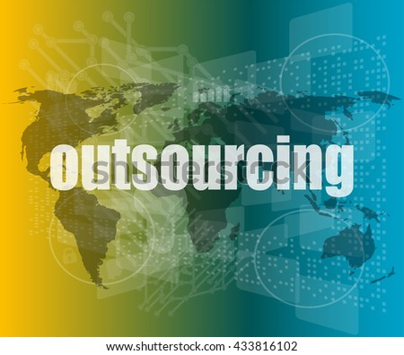 Job, work concept: words Outsourcing on digital screen, 3d vector quotation marks with thin line speech bubble. - stock vector