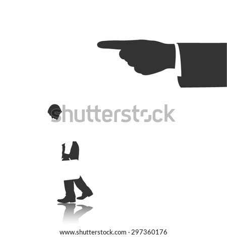 jobless, fired from job, getting fired, you are fired, human resources, jobhunting, unemployment, recruitment, businessman silhouette vector - stock vector