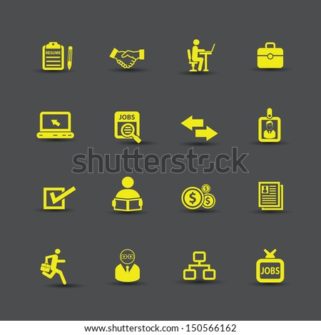 Jobs  and Finance icons,Yellow version,vector - stock vector
