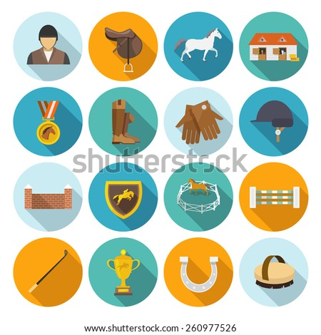 Jockey flat icons set with trophy rider derby champion isolated vector illustration - stock vector