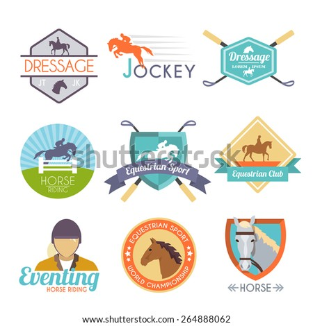Jockey label set with dressage sport horse club emblems isolated vector illustration - stock vector