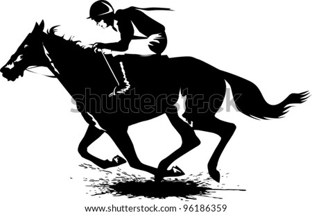 jockey on a horse involved in racing at the track (illustration); - stock vector