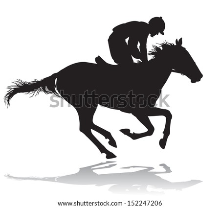Jockey riding a horse. Horse races. Competition.  - stock vector