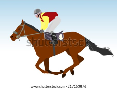 jockey riding race horse illustration - stock vector