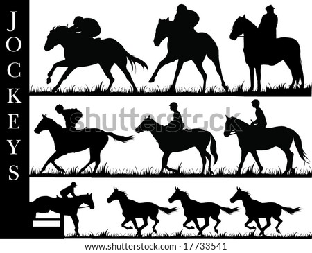 Jockey's riding their horses - stock vector