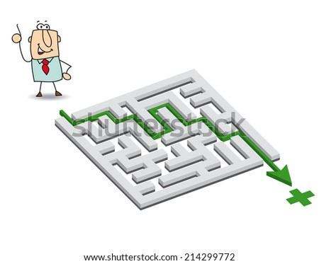 Joe and the maze. Joe has a solution. he wants to get through the maze - stock vector