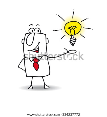 Joe presents an idea. Joe the businessman is very intelligent. He presents his idea - stock vector