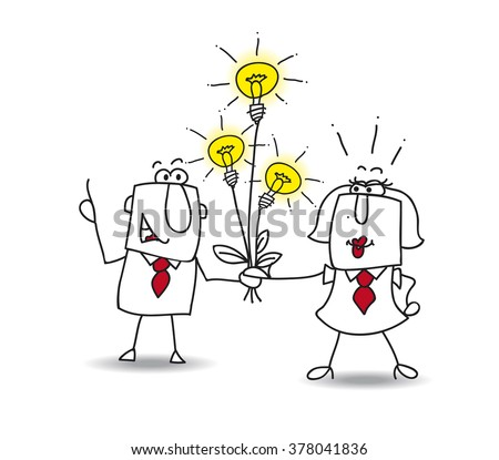 Joe the businessman gives a bouquet of ideas bulbs. this is a metaphor for someone who shares ideas - stock vector
