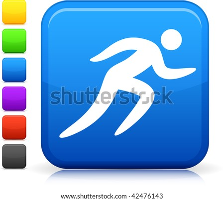 Jogging icon on square internet button  Six color options included.