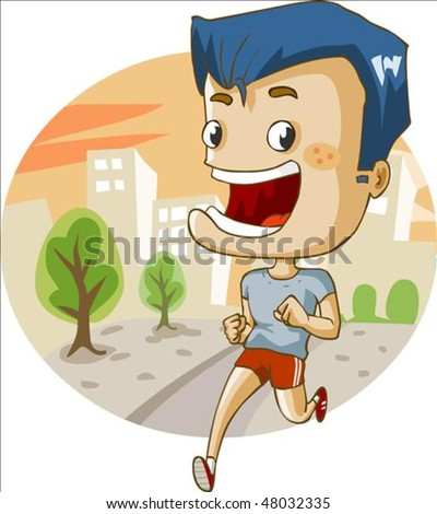 Jogging in the city. Detailed vector illustration