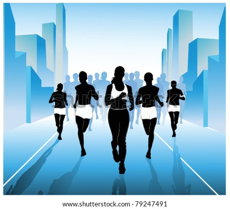 Jogging in the city. vector illustration - stock vector