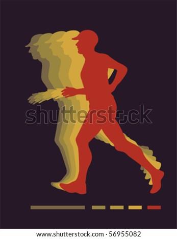 Jogging man vector - stock vector