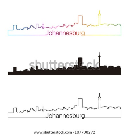 Johannesburg skyline linear style with rainbow in editable vector file - stock vector