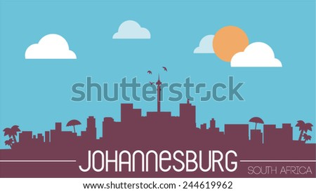 Johannesburg South Africa skyline silhouette flat design vector illustration - stock vector