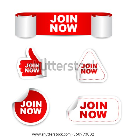 join now, red vector join now, red sticker join now, set stickers join now, element join now, sign join now, design join now, picture join now, illustration join now, join now eps10, paper sticker  - stock vector