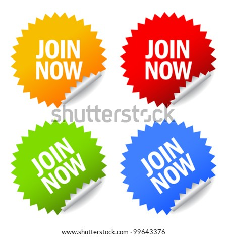 Join now vector stickers - stock vector