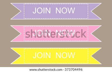 Join now vector stickers on grey background - stock vector