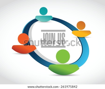join us people network diagram sign concept illustration design over white - stock vector