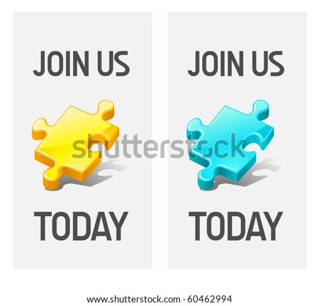 join us vector icons - stock vector