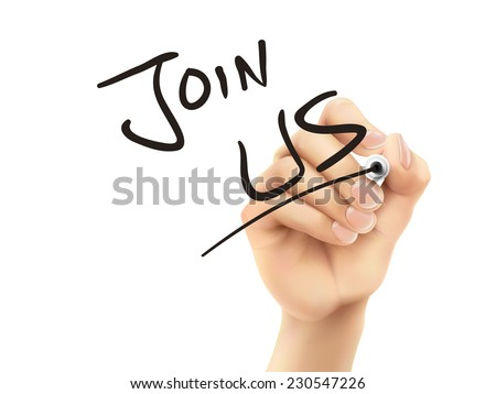 join us words written by hand on a transparent board - stock vector