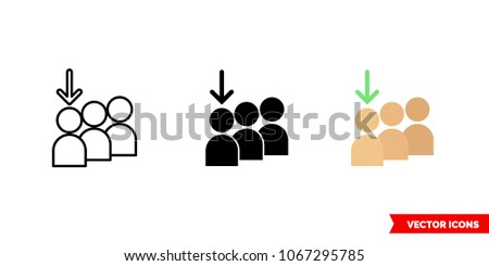 Joining queue icon 3 types color stock vector 1067295785 shutterstock joining queue icon of 3 types color black and white outline isolated ccuart Images