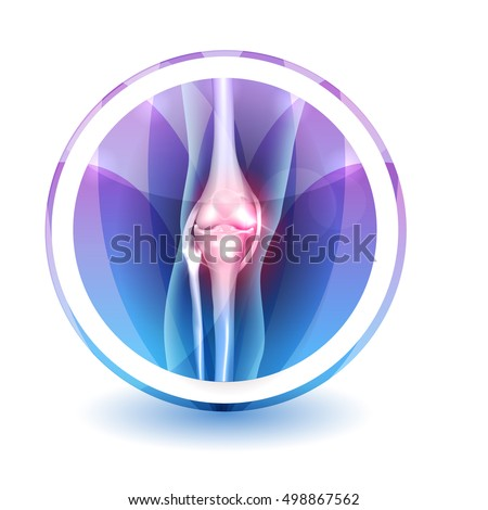 Joint anatomy symbol, round shape colorful overlay flower petals at the background.