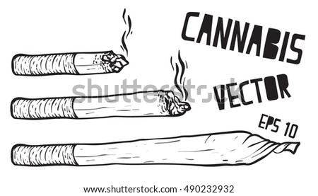 joint or spliff. Drug consumption, marijuana Vector