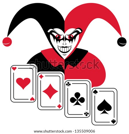 Joker and four playing cards. Abstract composition on a white background. - stock vector